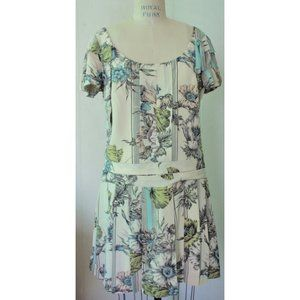 LEIFSDOTTIR CREAM BLUE BOTANICAL FLAPPER DRESS 12